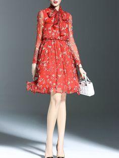 Bow Floral-print Silk Midi Dress