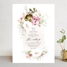 Beautiful Spring Wedding Invitations by Phrosne Ras Spring Wedding Invitations, Botanical Wedding Invitations, Wedding Favor Tags, Reception Card, Wedding Website, Wedding Programs, Invitation Design, Wedding Planning, Invites