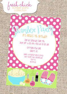 PRINTABLE PARTY INVITATION -Slumber Party Sleepover Spa Birthday Party Collection. $15.00, via Etsy.
