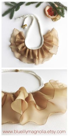 Gold coloured textile statement necklace, gift idea for her, fabric necklace, chiffon and wool