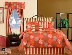 Barts Mango Orange Tropical Bedding by Victor Mill Tropical Bedding, Coastal Bedding, Luxury Bedding, Toile Bedding, Teen Bedding, Comforter Cover, Comforter Sets, Beach Bedding Sets, Bedding Collections