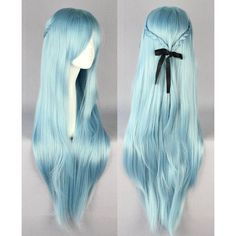 New Sword Art Online Asuna Yuuki violet cosplay wig Light Blue ❤ liked on Polyvore featuring hair