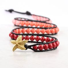 Coral Bracelet Red Orange Pink Beaded Leather Wrap Ombre Black Leather Jewelry Starfish Bohemian Jewelry Triple Wrap Fall Fashion