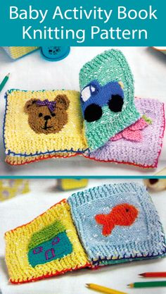 Knitting Pattern for Baby Activity Book Great Stashbuser Baby Cardigan Knitting Pattern, Baby Knitting Patterns, Knitting Designs, Crochet Patterns, Crochet Toys, Crochet Baby, Knit Crochet, Baby Activity, Diy Knitting Projects