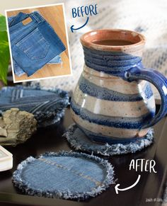 This diy coasters project is a fun way to upcycle jeans. Turn your back pockets into unique drink coasters with just a few steps. projekte jeans, DIY Coasters Made From Jeans Sewing Jeans, Diy Jeans, Sewing Clothes, Diy Clothes Jeans, Fabric Coasters, Diy Coasters, Coaster Crafts, Coffee Coasters, Denim Scraps