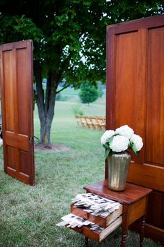 "These two doors served as the outdoor ""entryway"" ... Love it! Event design by (the bride) inkandivory.com, Photography by jacquelynpoussot.com via http://StyleMePretty.com/2012/04/25/mr-vernon-wedding-at-felicias-guest-house-by-ink-ivory/"