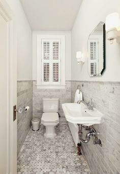 small narrow half bathroom - Google Search                                                                                                                                                                                 More