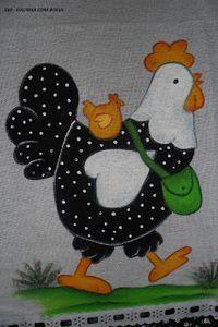 Aline - Pintura em Tecido: Galinha D´Angola com Bolsa