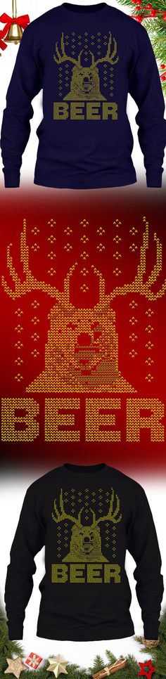 Hunting Christmas Sweater Beer Deer - Get this limited edition ugly Christmas Sweater just in time for the holidays! Buy 2 or more, save on shipping!
