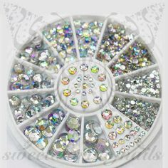 Clear 3D Nail Rhinestones Charms Wheel-5 Sizes Size:1.5mm / 2mm / 3mm / 4mm / 5mm Material: Acrylic Compatible with Both Natural and Artificial Nails and Easy t