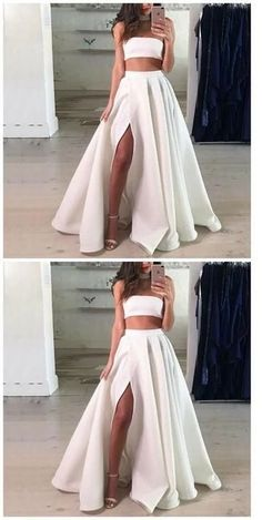 Prom Dresses Ball Gown, Two Piece Strapless Split Front White Long Prom dress, from the ever-popular high-low prom dresses, to fun and flirty short prom dresses and elegant long prom gowns. Cute Prom Dresses, Long Prom Gowns, Evening Dresses, Formal Dresses, Dress Prom, Dress Lace, Party Dresses, Pageant Dresses, Dresses Dresses