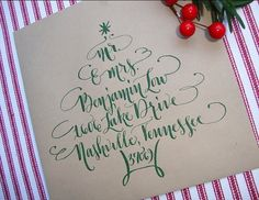 Well this is how i will Address my Christmas cards this year! Holiday Calligraphy Envelope Addressing, by AbigailTCalligraphy Envelope Lettering, Calligraphy Envelope, How To Write Calligraphy, Envelope Art, Envelope Design, Calligraphy Letters, Modern Caligraphy, Christmas Envelopes, Christmas Cards