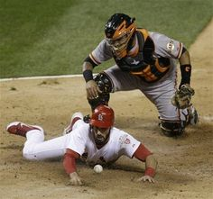 Game 4 of the NLCS-Matt Carpenter is safe at home to score a run 10-18-12