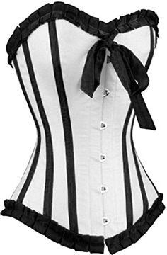 AlivilaY Fashion Sexy Bowknot Ruffle Corset 27222805WhiteL >>> Details can be found by clicking on the image.