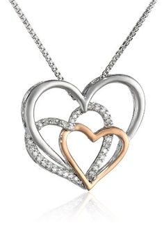 I Love You Glass Rose | XPY Sterling Silver, 14k Rose Gold, and Diamond Triple Heart Pendant ...