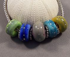 Large Hole Handmade Lampwork Beads by Mona -Enamel and Silver Droplets - Lamp work Glass Beads Large Hole European Bracelet Beads Silver