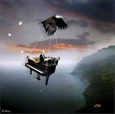 """""""The Pianist"""" by Vladimir Kush. #art #artwork www.pinterest.com/TheHitman14/music-art-%2B/"""