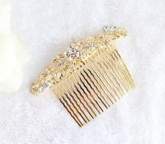 Gold Wedding Comb/Bridal Floral Hair by Beauteshoppe on Etsy