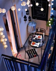 Really like this small balcony look (CC). small balcony can be awesome too. lighting in a small balcony