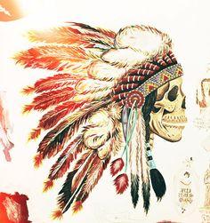 art-headdress-indian-native-american-painting-skull