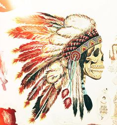 art-headdress-indian-native-american-painting-skull