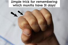 Super-simple way to use your knuckles to remember which months have 31 days.  So much easier than remembering that rhyme! - Happy Hooligans