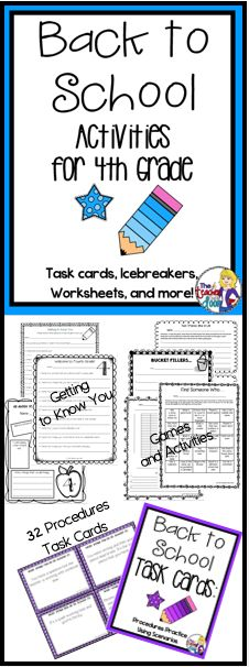 Great 36 page set of Back to School Activities for 4th Grade including worksheets, task cards, games, a writing activity, math activities and more to keep your kids busy learning the first week. Gives you as a 4th Grade teacher, a simple way to get to know the kids, while allowing them to get to know one another, and helping them make the transition to a new classroom. This is a go to set you'll use year after year! (TpT Resource)