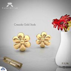 Budget Friendly, Unique and Stylish! #gold #jewelleryaddiction #floraljewellery #goldjewellery #goldstudearrings #studearringsonline #earringsonlineindia #gold #earring #jewellery #fashion #lifestyle #shopping