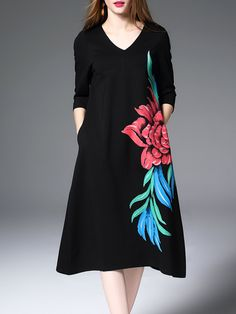 #AdoreWe #StyleWe DDER 3/4 Sleeve Vintage Floral Print Midi Dress - AdoreWe.com