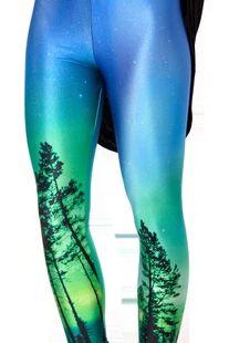Black MIlk Leggings 欧美外贸显瘦树木印花星空打底裤Lgs3013