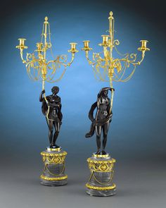 The epitome of Russian craftsmanship, this majestic and incredibly rare pair of candelabra would have been fit for the Czar. These superb Louis XVI-style figural bronze candelabra were created in the Neoclassical taste that permeated Russia during the late 18th century. The chiseled gilt bronze work is in a class all its own ~ M.S. Rau Antiques