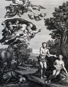 Phillip Medhurst Collection print 54. Adam & Eve dicovered. Genesis cap 3 vv 9&19. Dominichino on F