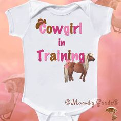 Girl Onesie Cowgirl Onesie Pony romper  Graphic Tshirts by Mumsy Goose Newborn Creepers to Girl tees Fun for Baby Shower via Etsy