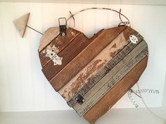 Rustic Hanging Wood Heart with Arrow front and by MyAlteredState