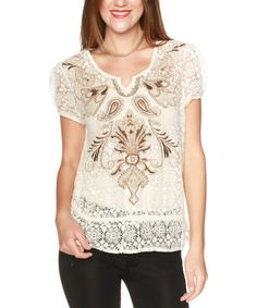 Look what I found on #zulily! Cream Lace Paisley Top #zulilyfinds