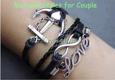 Black infinity anchor love jewelry charm by ModernLeisure on Etsy, $7.99