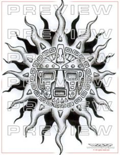 amazing aztec sun with tribal tattoo  design