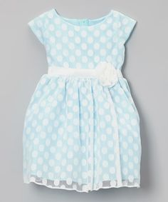 Another great find on #zulily! Blue Polka Dot Cap-Sleeve Dress - Infant, Toddler & Girls by Sweet Kids #zulilyfinds
