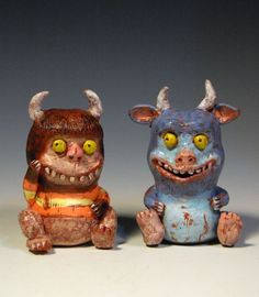 Here are two characters from the book Where the Wild things Are by Maurice Sendak.  I have very fond memories of this book. I remember being in