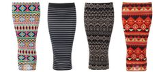 NEW WOMENS TUBE MIDI AZTEC TRIBAL STRIPPED JERSEY PENCIL BODYCON STRETCH SKIRT