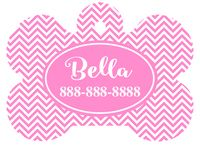 Personalized Pink Chevron Pet Tag (Spring Time Design 6) with Steelheart Font