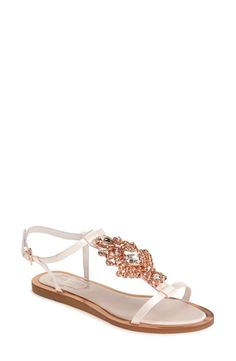 Ted Baker London 'Roseupe' Crystal Embellished Flat Sandal (Women)