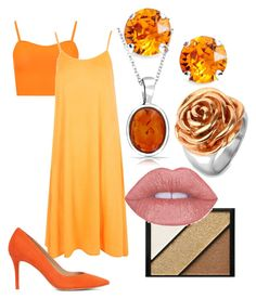 """dress orange"" by zombiebarbie1333 on Polyvore featuring WearAll, Boohoo, Bling Jewelry, L. Erickson, West Coast Jewelry, Elizabeth Arden and ALDO"