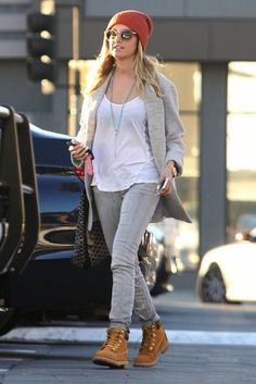 Ashley Tisdale wearing Chan Luu Rosary Necklace in Turquoise Timberland Premium Boots in Wheat Nubuck Goyard Volataire tote