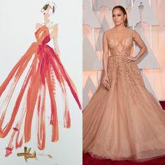 Gli+abiti+più+belli+degli+Oscar+in+versione+acquerello.+I+bozzetti+poetici+di+Paper+Fashion