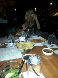 Cheese dip, chips and salsa at cantina Laredo Chicago