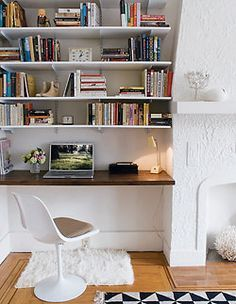 Home How-To: Built-In Shelving / Alcove Desk / Home Office / Small Spaces Alcove Desk, Alcove Storage, Alcove Shelving, Desk Shelves, Book Storage, Kitchen Storage, Storage Ideas, Desk Bookshelf Combo, Track Shelving