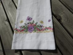 Vintage Floral Butterfly Embroidery Cross Stitch Pillow Case, Cotton Pillow Case, Hand Stitched 1960s bedroom linen, needlework pillowcase by GinnysGirlsTreasures on Etsy