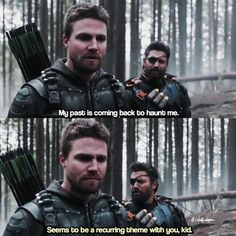 """#Arrow 5x23 """"Lian Yu"""" - """"My pass is coming back to haunt me. Seems to be a recurring theme with you, kid."""" - #OliverQueen #SladeWilson"""