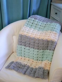 Easy Crochet Shell Stitch Blanket Pattern